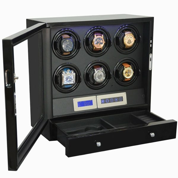 6 + 2 Watch Winder Black with Storage Drawer LED Touch Pad Controls w Remote