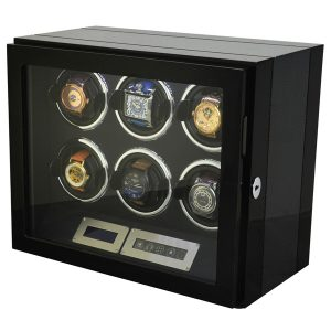 6 Watch Winder Black With Carbon Fiber Finish LED Touch Pad Controls w/ Remote