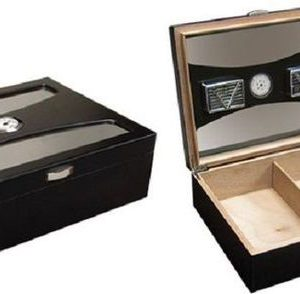 DELANO BLACK GLASS TOP DESKTOP CIGAR HUMIDOR