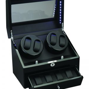 Diplomat 4+4 Watch Winder LED Lit w/ Storage Ebony Black Wood and Leather