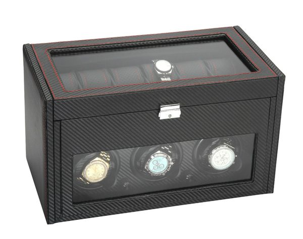 Diplomat Modena 3 + 12 Carbon Fiber Watch Winder with Storage