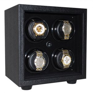 Orbita In-Safe 4 Rotorwind Automatic Watch Winder- Open Front Black/Black