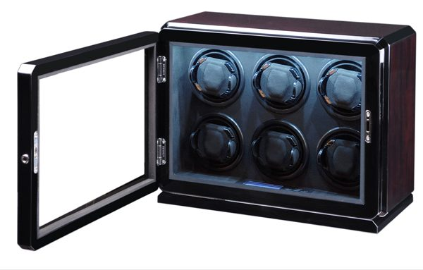 Volta 6 Watch Winder Roadster Rosewood Finish and LED Lighting