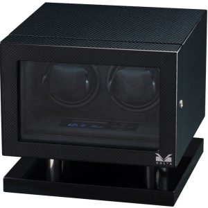 Volta Double Watch Winder Carbon Fiber LCD Lighting Lock-Key