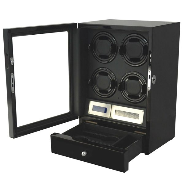 four plus 2 Watch Winder Black with Storage Drawer LED Touch Pad Controls with Remote