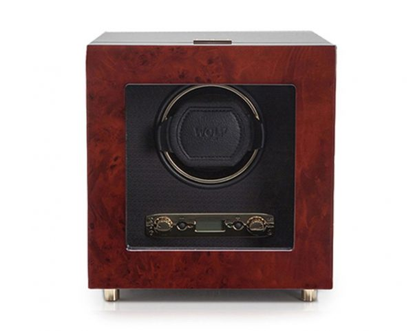 Wolf Savoy Single Watch Winder with Cover in Burl Wood 45441